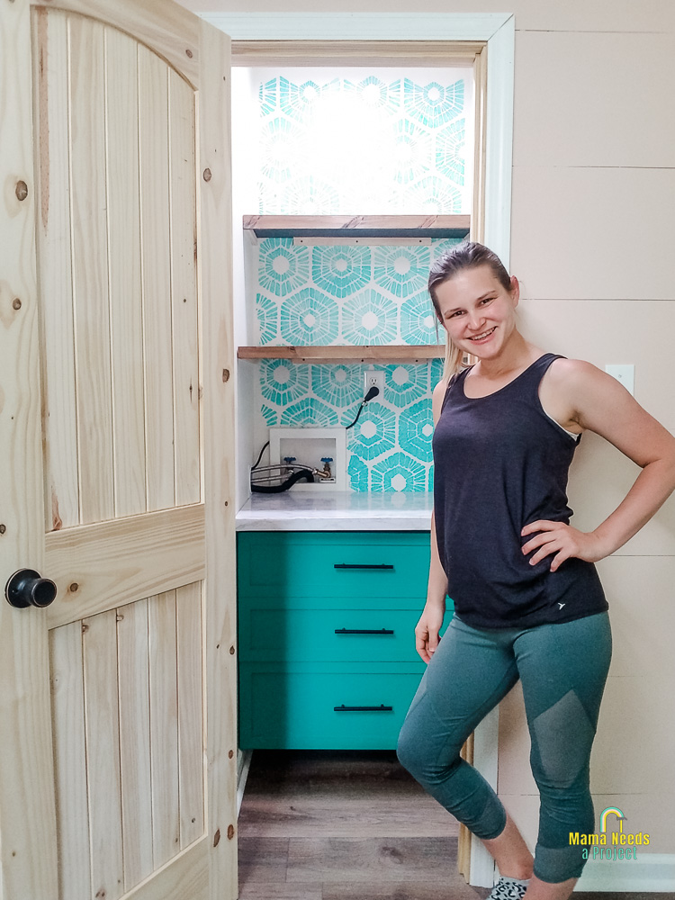 Small DIY pantry closet completed with Emilee Anderson from Mama Needs a Project