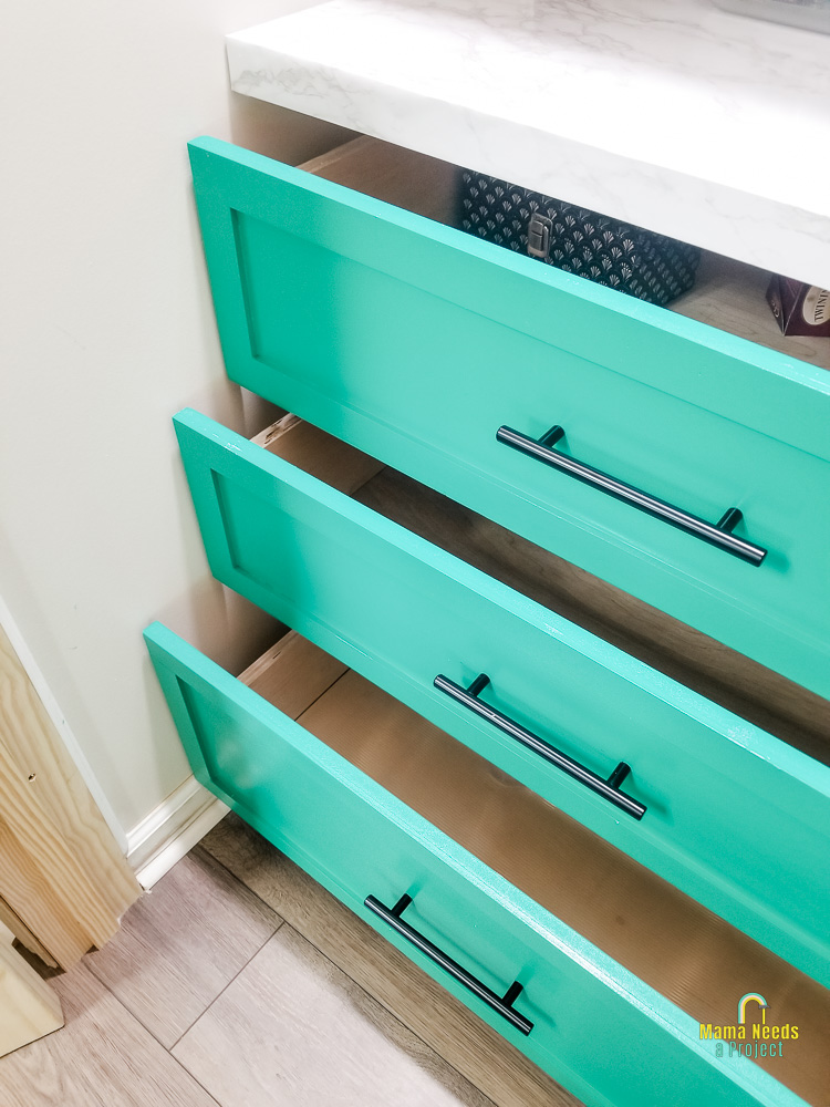 DIY pantry drawers opened