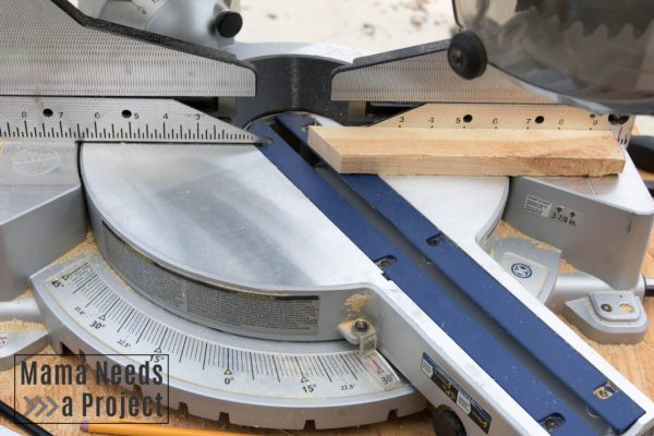 cutting hexagon pieces with a miter saw for diy honecomb garden trellis