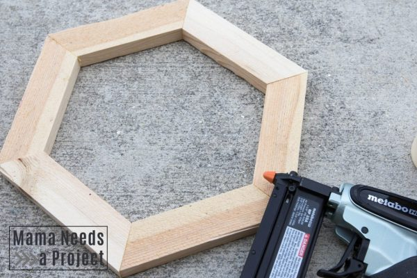 how to build hexagons for honeycomb garden trellis, hexagon and pin nailer image