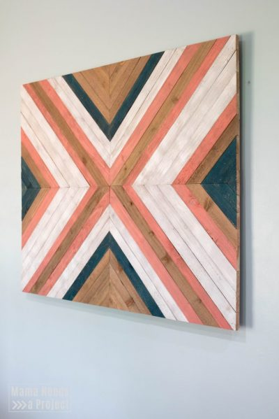 wood quilt tutorial, finished big x wood quilt