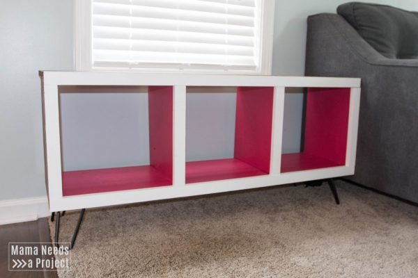 modern cubby shelf with hairpin legs woodworking tutorial completed toy shelf