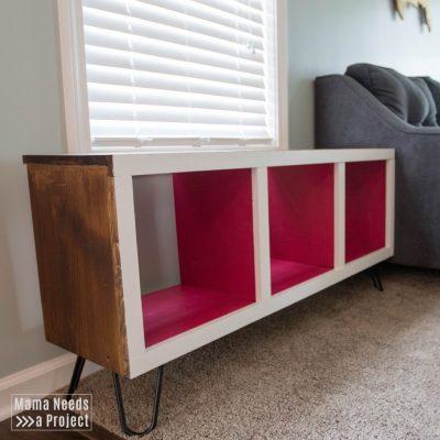 diy modern cubby shelf toy storage woodworking tutorial