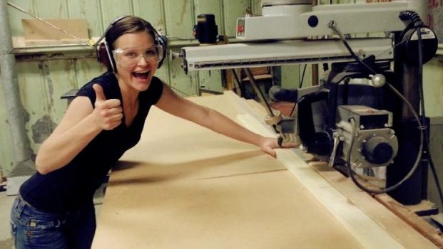 Emilee Anderson from Mama Needs a Project learning woodworking skills at the wood hobby shop on Marine Corps base in 29 Palms in 2012