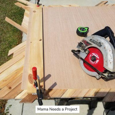 Big X Wood Quilt Wall Art - trim with circular saw