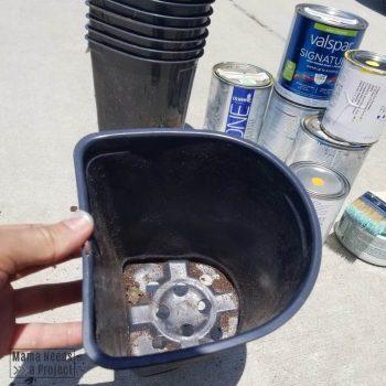 U-shaped plastic nursery pots and paint