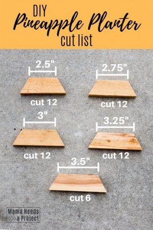 DIY Pineapple Planter cut list woodworking tutorial